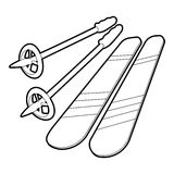 Skiing icon, outline style Royalty Free Stock Photo