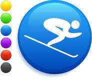 Skiing icon on round internet button Royalty Free Stock Photos