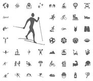 Skiing icon. Sport illustration vector set icons. Set of 48 sport icons. Skiing icon. Sport illustration vector set icons. Set of 48 sport icons Royalty Free Stock Images