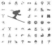 Skiing icon. Sport illustration vector set icons. Set of 48 sport icons. Skiing icon. Sport illustration vector set icons. Set of 48 sport icons Royalty Free Stock Image