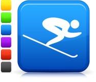 Skiing icon on square internet button Stock Photo