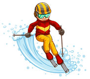 Skiing. Illustration of a man skiing downhill Stock Photo