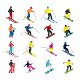 Skiing isometric set Stock Photography
