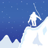 Skiing and jupm man in winter vector illustration Royalty Free Stock Images