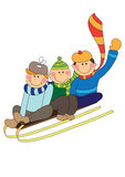 Skiing kids Stock Photo