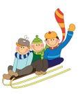 Skiing kids Stock Photo