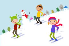 Skiing kids Royalty Free Stock Photo