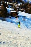 Skiing in La Tzoumaz place Royalty Free Stock Photo