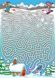 Skiing - Labyrinth For Kids (hard). Royalty Free Stock Photo