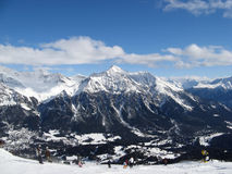 Skiing in Lenzerheide royalty free stock photo