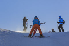 Skiing lesson Royalty Free Stock Image