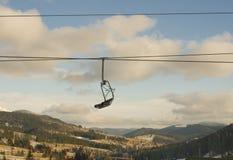 Skiing lift. Without people. Carpathian mountains, Bukovel resort, Ukraine Royalty Free Stock Images