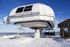 Skiing lift engine. Ski lift/elevator at the top of Kvitfjell, Norway Stock Images