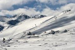 Skiing-lift. The skiing-lift high in the mountain range.Bulgarian mountain Rila Stock Image