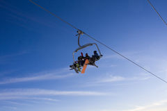 Skiing lift and sky Stock Images