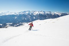 Skiing on the majestic italian alpine arc Royalty Free Stock Images