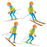 Skiing Male Vector. With Goggles And Ski Suit. Skiing In Winter. Isolated Flat Cartoon Character Illustration. Skiing Man Male Vector. Skiing Sportsman. Season Royalty Free Stock Photos