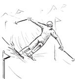 Skiing man on competitions Royalty Free Stock Image