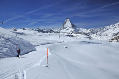 Skiing and the Matterhorn Royalty Free Stock Image