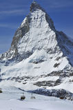 Skiing and the matterhorn Stock Image