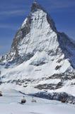 Skiing and the matterhorn Stock Image