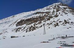 Skiing on Matterhorn Mountain in Swiss Stock Photography