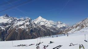 Skiing on Matterhorn Mountain in Swiss Stock Images