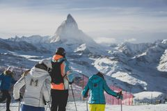 Skiing in switzerland matterhorn zermatt stock photos