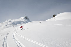 Skiing, men off piste. Areches, Savoie, Beaufortain France Stock Photography