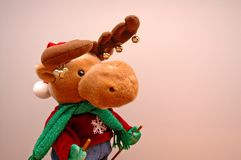 Skiing Moose. Cute stuffed toy animal, dressed to go skiing Stock Images