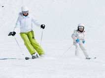 Skiing with mother Stock Photos