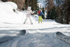 Skiing with mother Royalty Free Stock Images