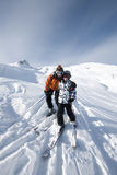 Skiing, mother and child. In the mountains, Areches, Savoie, France Stock Photography