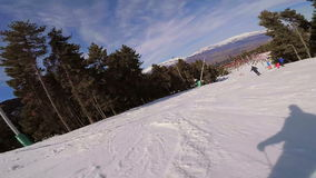 Skiing on the mountain Pyrenees in Spain, Masella.  stock video footage
