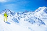Skiing in mountains is so beautiful Royalty Free Stock Image