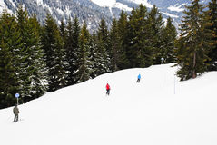 Skiing on mountains in Portes du Soleil region Stock Images