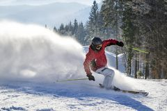 Skiing in the mountains Stock Images