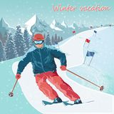 Winter sports. Skiing. Alpine skiing trail. Active leisure and sports. stock illustration