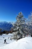 Skiing in Nendaz Switzerland Royalty Free Stock Images