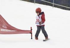 Skiing on one ski Royalty Free Stock Image