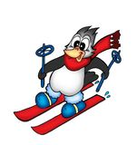 Skiing penguin. Color illustration of skiing penguin royalty free illustration