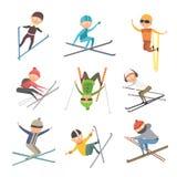 Skiing people tricks vector illustration. Royalty Free Stock Photo