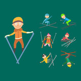 Skiing people tricks vector illustration. Royalty Free Stock Image