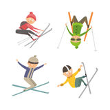 Skiing people tricks vector illustration. Stock Photography
