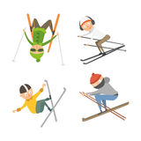 Skiing people tricks vector illustration. Royalty Free Stock Photography