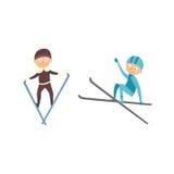 Skiing people tricks vector illustration. Royalty Free Stock Photos