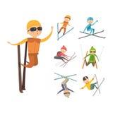 Skiing people tricks vector illustration. Stock Photos