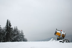 Skiing Place With Snowmaking Machine Stock Photography
