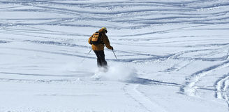 Skiing in powder Stock Photos