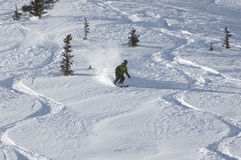 Skiing in the powder. At ski resort stock image